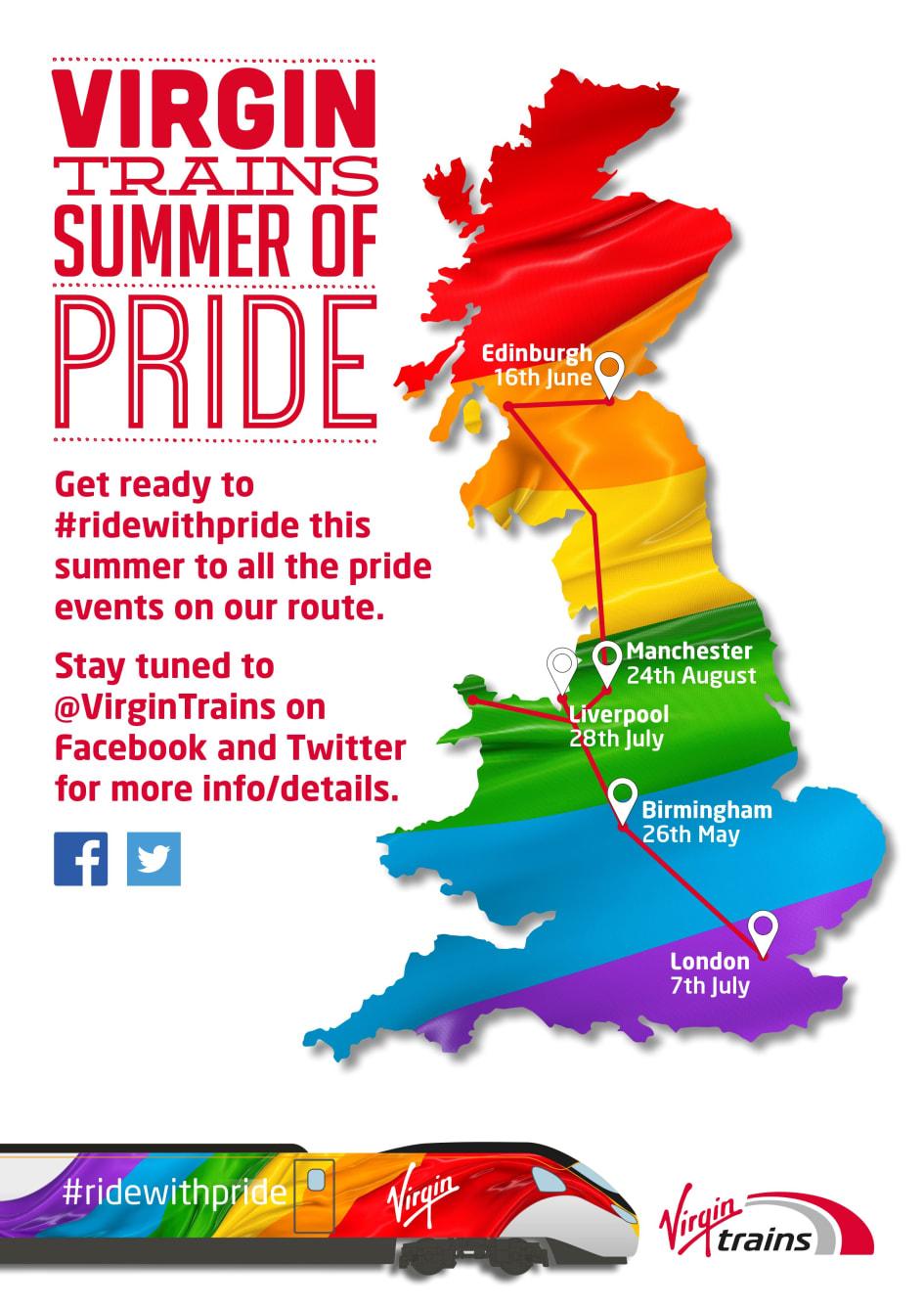 Summer of Pride Map - Virgin Trains