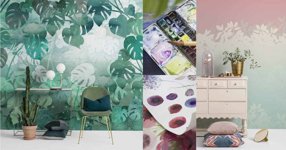 Flowers & Aquarelle - a new wallpaper collection from Mr Perswall