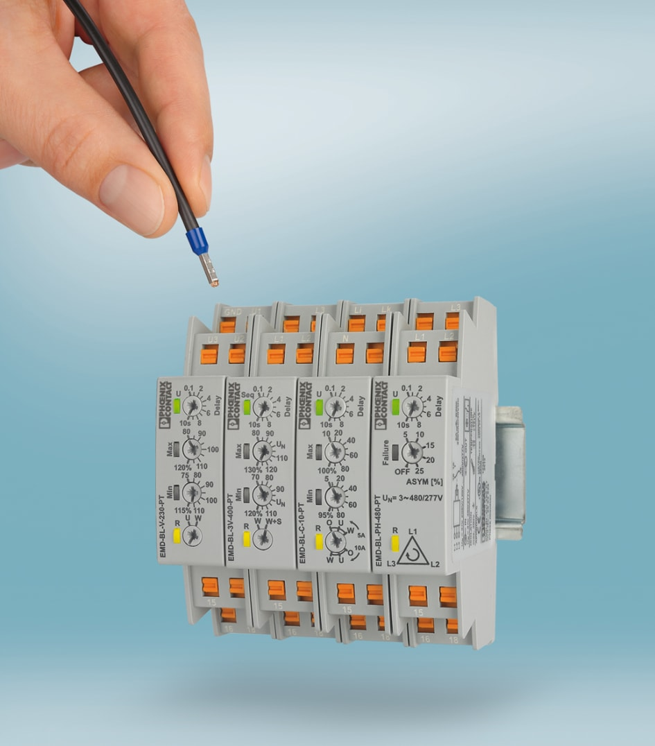 Compact Monitoring Relays For Quick Wiring Phoenix Contact Uk Diagram The New Emd Bl From Monitor Current Voltage And Phase Sequence Efficiently Reliably