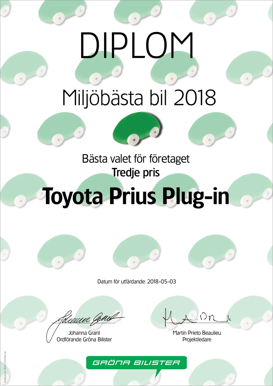 GB MBB2018 Diplom Företag 3 Toyota Prius Plug in Gröna