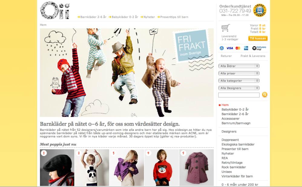 6dadc39079e3 Babykläder och barnkläder är enkelt och smidigt att handla över nätet. Och  det visar sig också på försäljningssiffrorna hos Oiidesign.se.