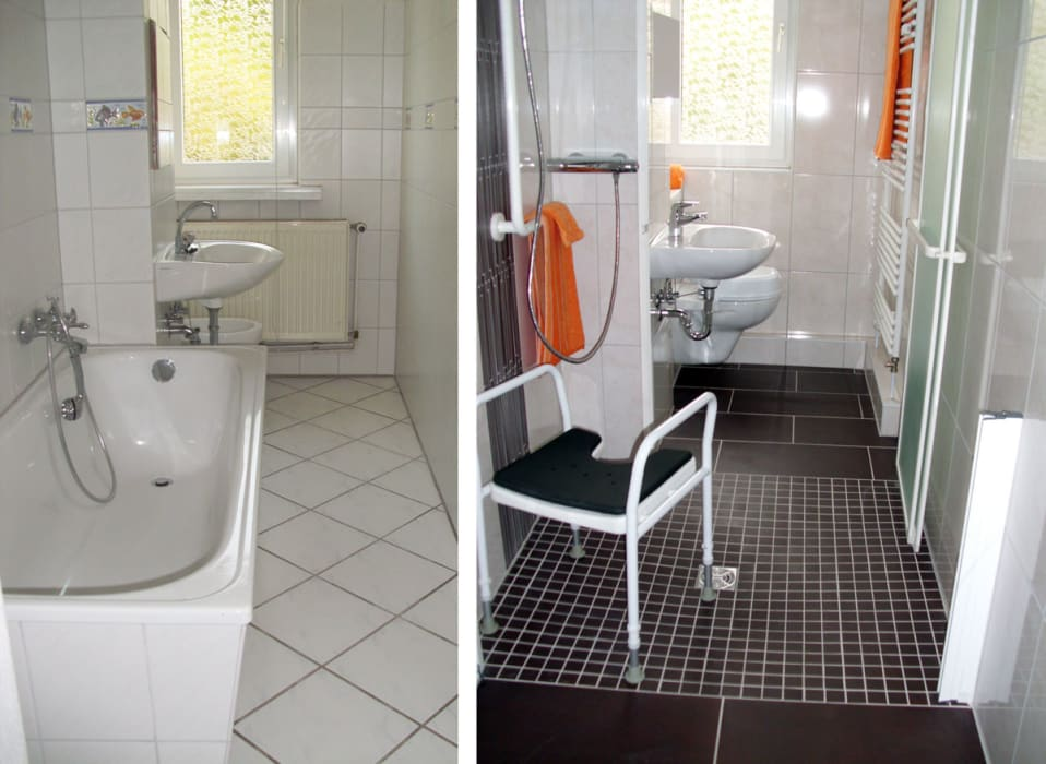 vorher nachher im schlauchbad mit bodengleicher dusche. Black Bedroom Furniture Sets. Home Design Ideas