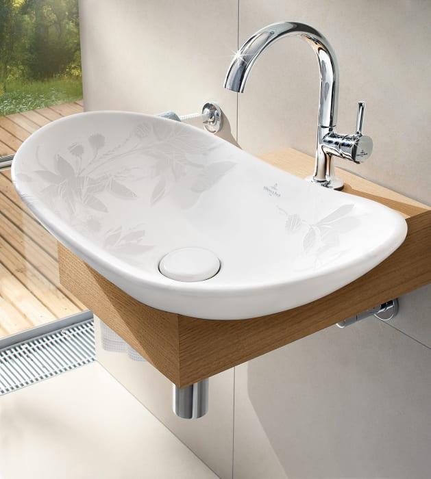 Handfat med bladm nster ur serien my nature fr n - Vasque salle de bain villeroy et boch ...