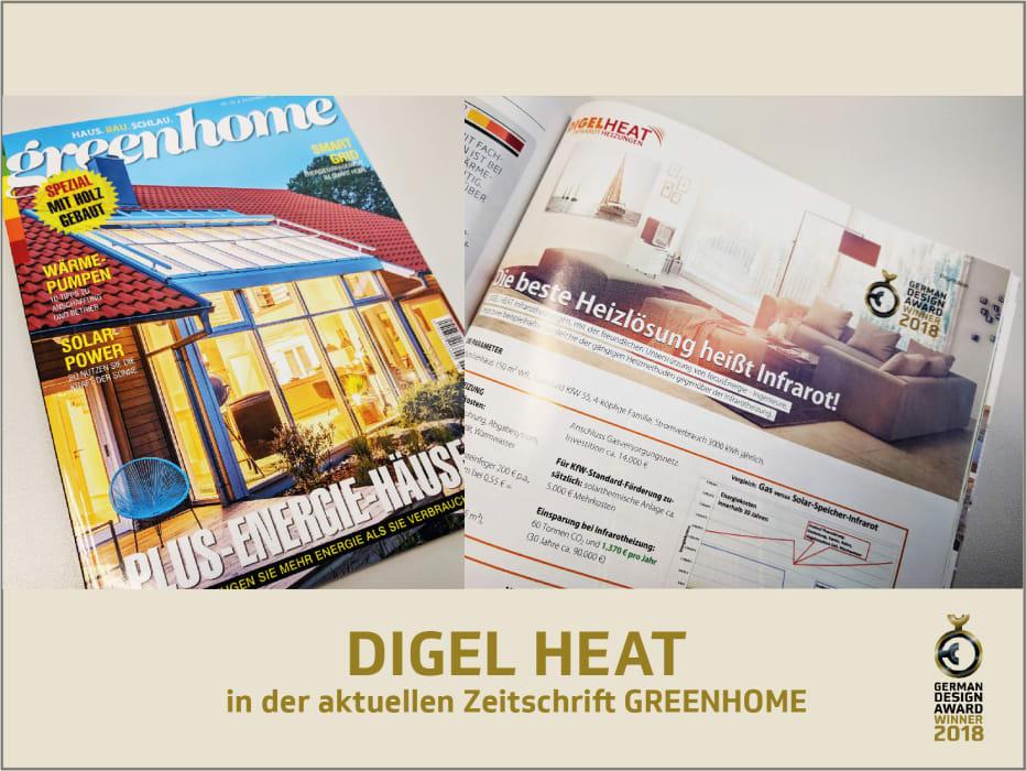 digel heat in der zeitschrift greenhome digel heat. Black Bedroom Furniture Sets. Home Design Ideas