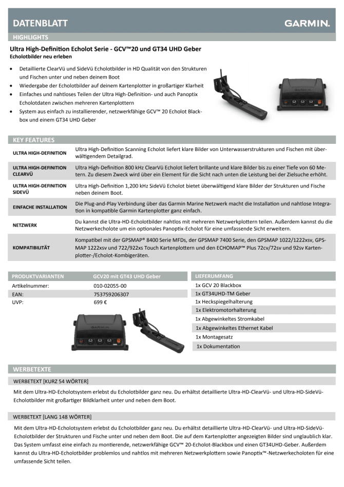 Datenblatt Garmin Ultra HD Echolot - Garmin