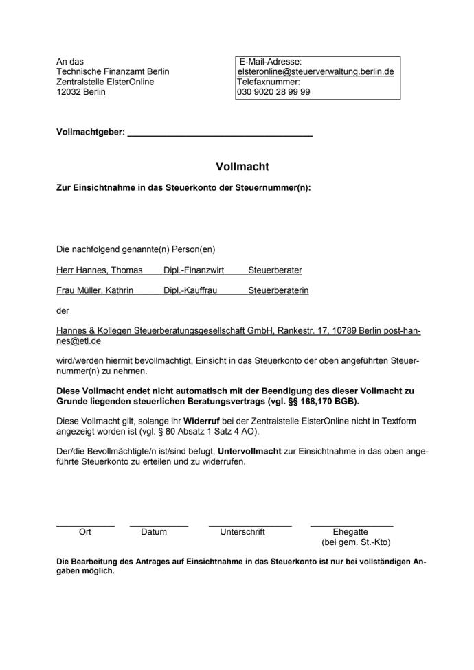Vollmacht Steuerkonto online (Berlin) - Hannes & Kollegen