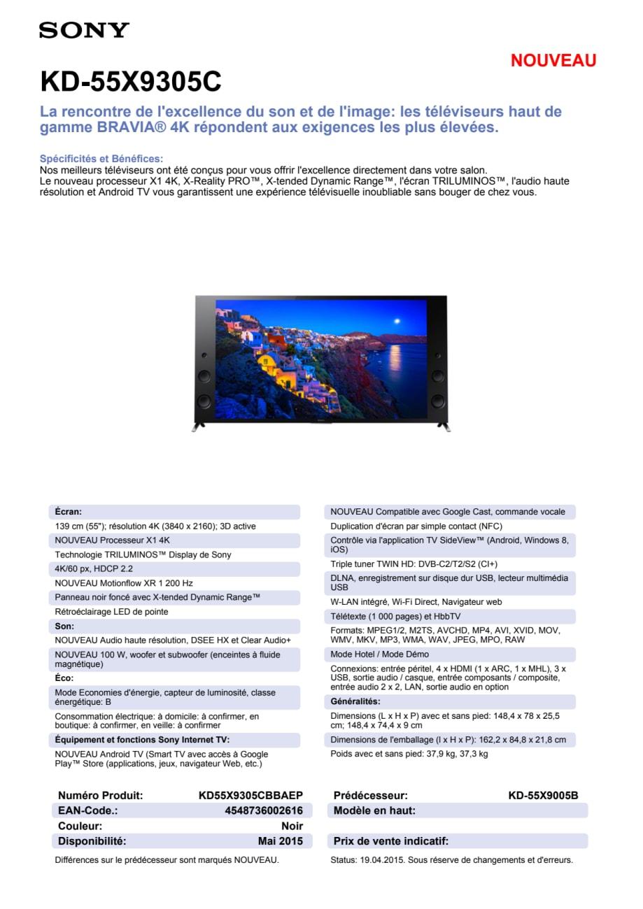 KD-55X9305C von Sony - Sony Suisse