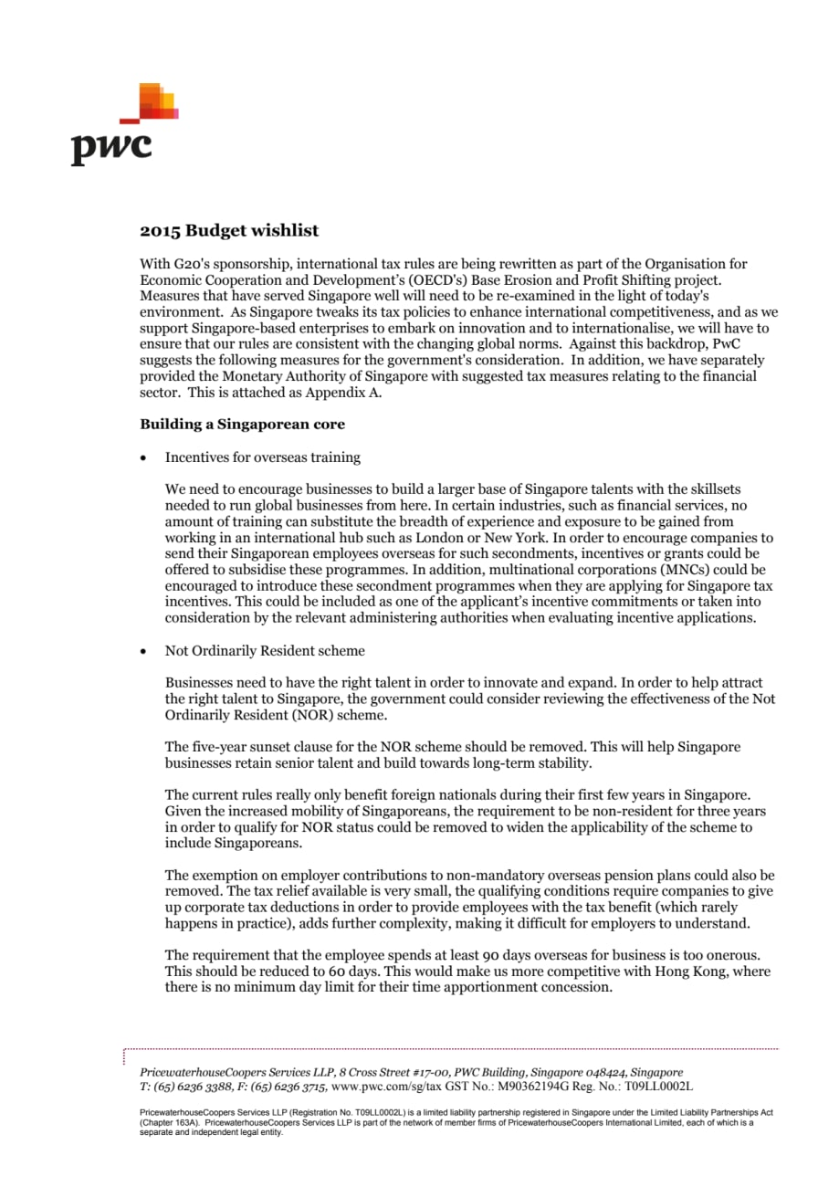 PwC's Singapore 2015 Budget wishlist - PwC Singapore