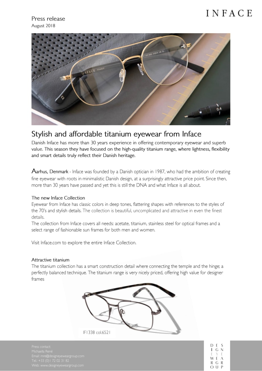 d9c4e8742c5c7c Stylish and affordable titanium eyewear from Inface - Design Eyewear ...