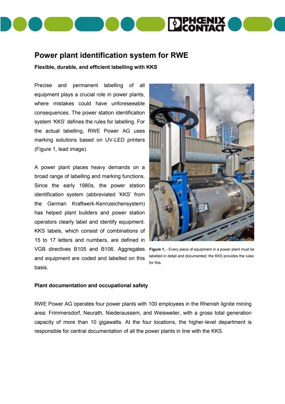 Power plant identification system for RWE - Flexible, durable, and