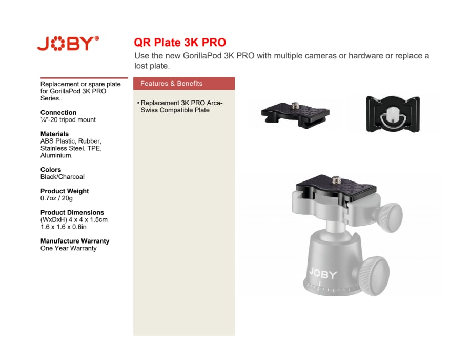 Joby GorillaPod 3K Pro QR plate datasheet pdf - Focus Nordic