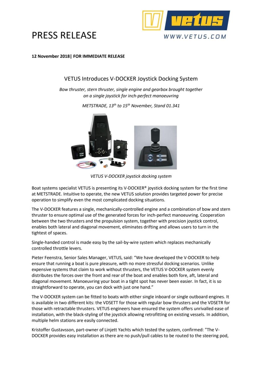 VETUS Introduces V-DOCKER Joystick Docking System - Saltwater Stone