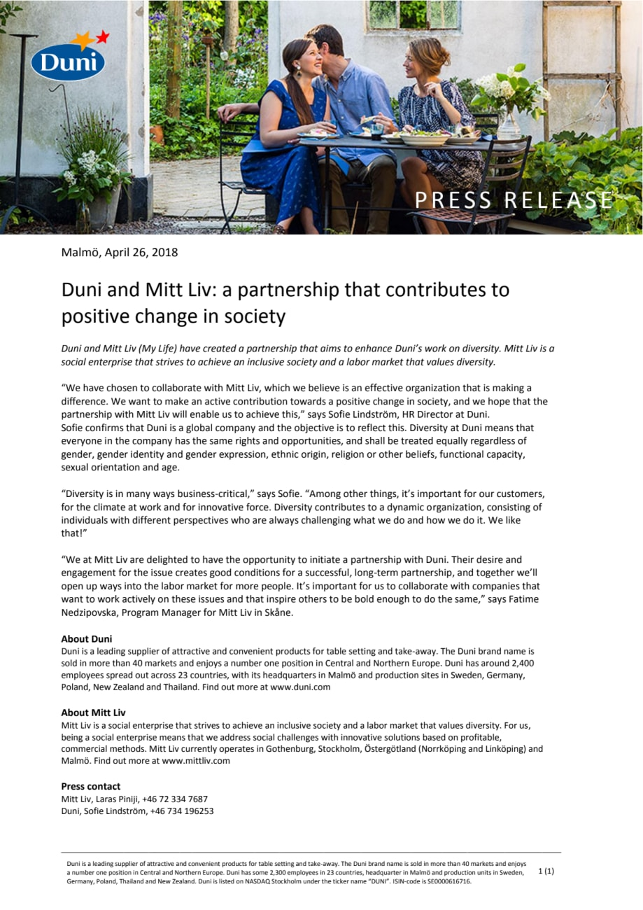 Duni and Mitt Liv: a partnership that contributes to