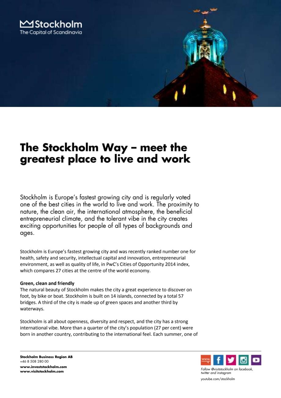 The Stockholm Way - Invest Stockholm
