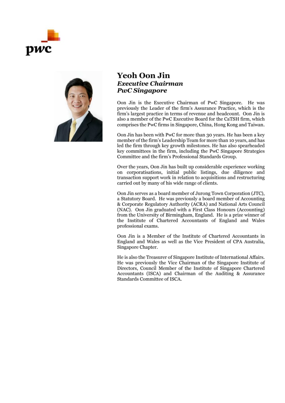 Bios of speakers for PwC Myanmar new office opening - PwC Singapore
