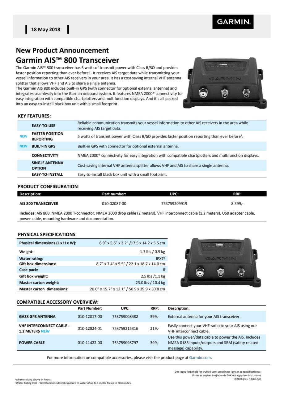 Memo AIS™ 800 Blackbox Transceiver - Garmin Nordic Denmark