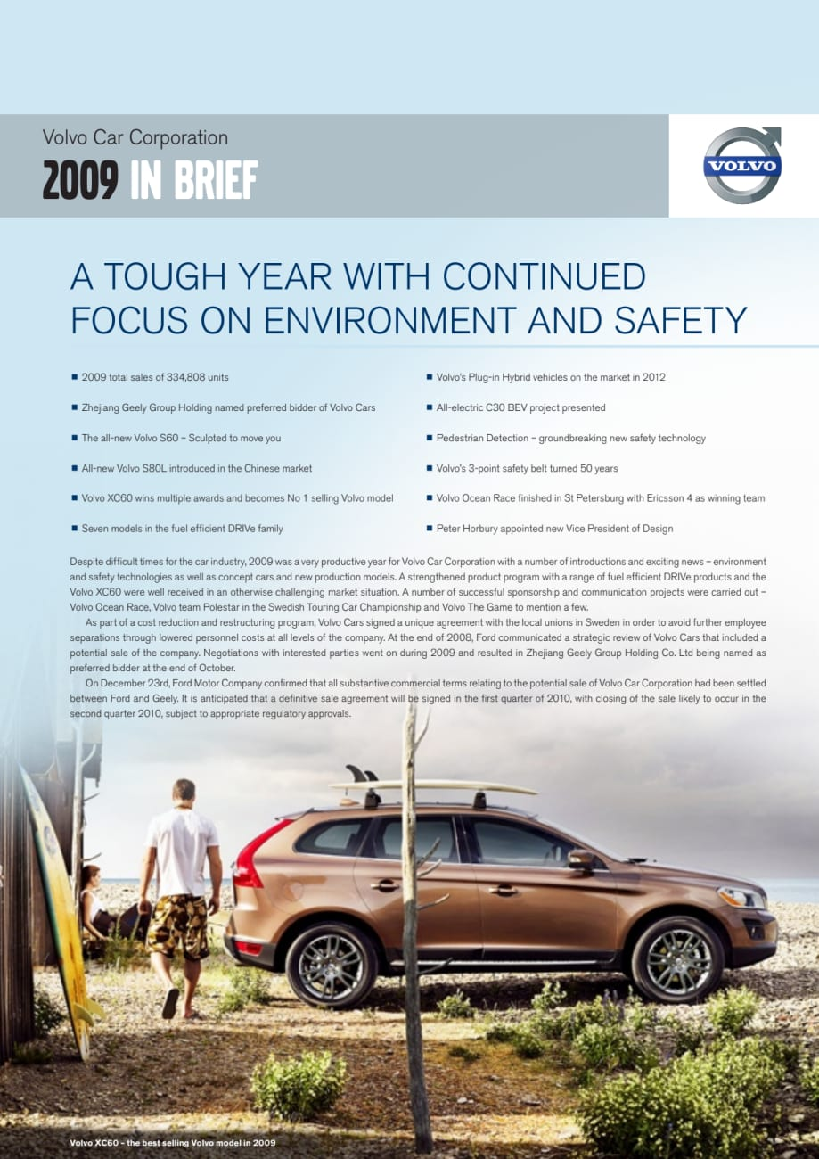 Volvo Car Corporation 2009 In Brief A Tough Year With Continued