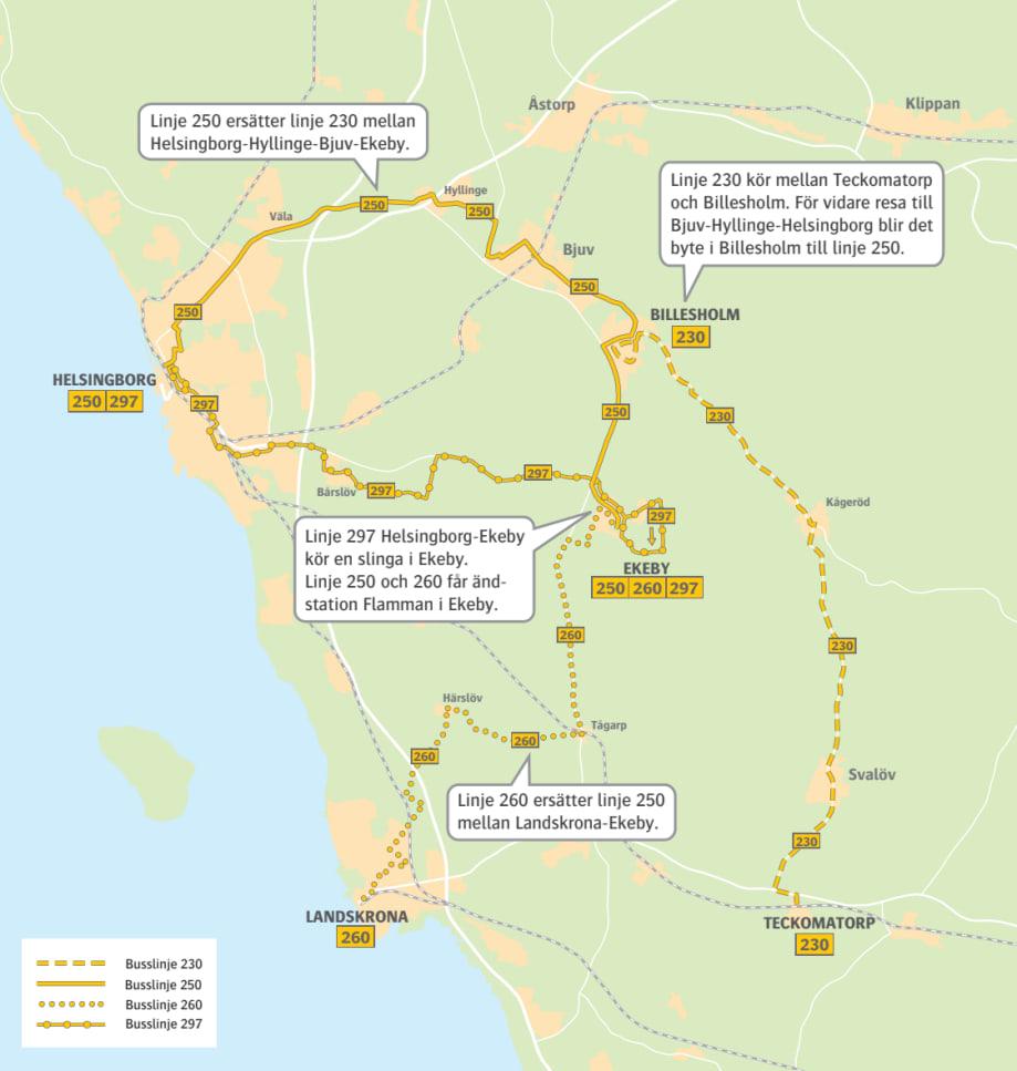 Karta Nordvastra Skane.Karta Regionbuss 230 250 260 297 Skanetrafiken