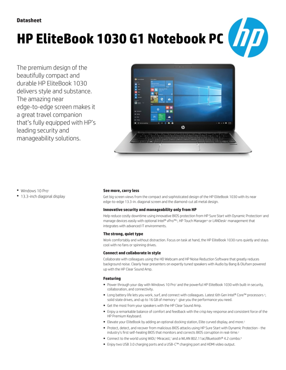HP EliteBook 1030 Datasheet ENG - HP Norge AS
