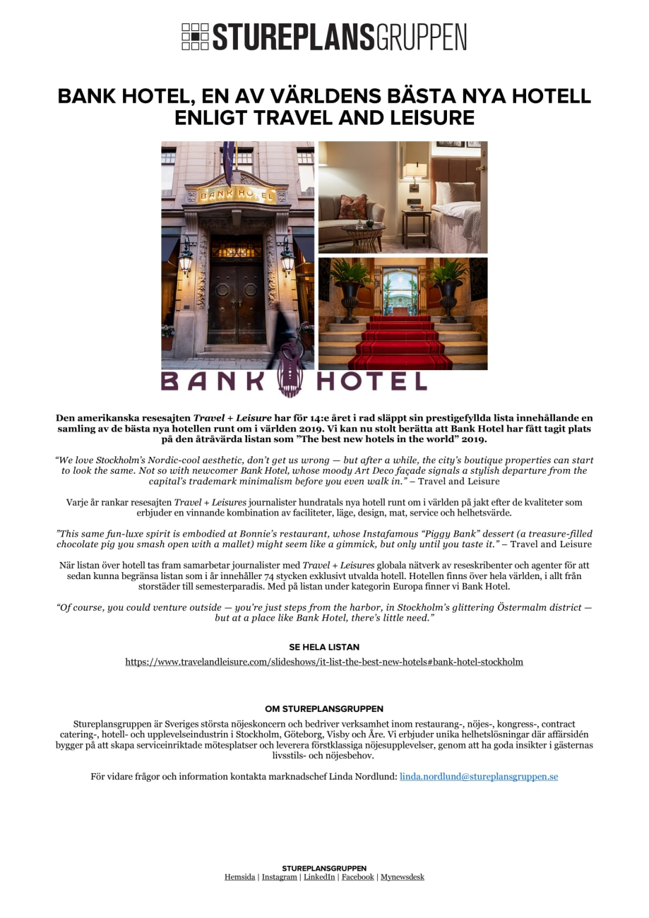 989103844e1b BANK HOTEL - TRAVEL AND LEISURE - Stureplansgruppen