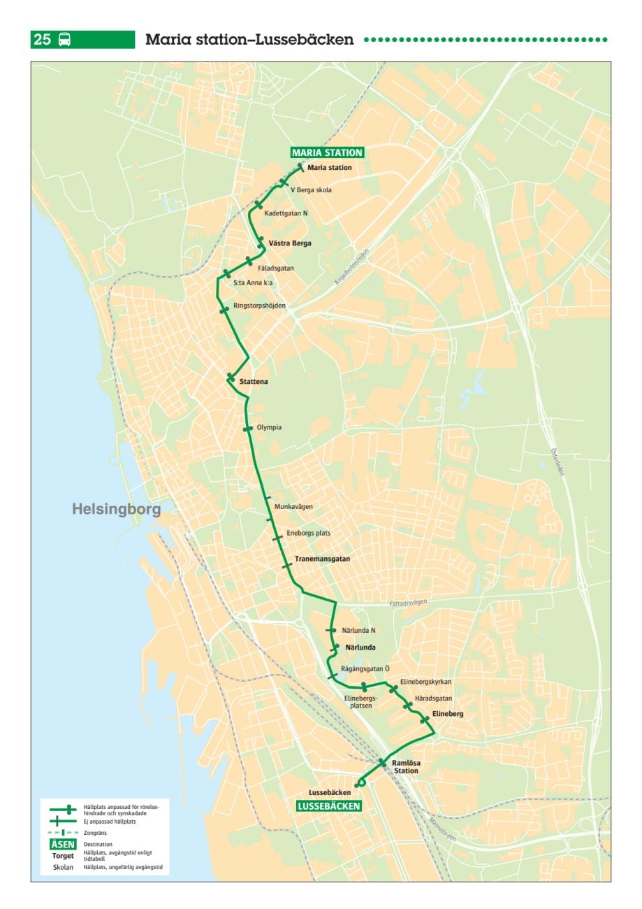 Karta Linje 25 I Helsingborg Skanetrafiken