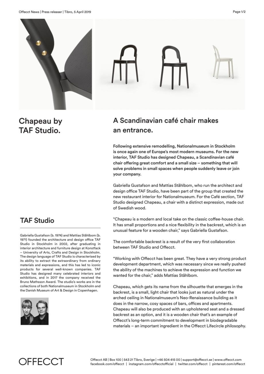 Offecct Press release Chapeau by TAF Studio_EN - OFFECCT AB