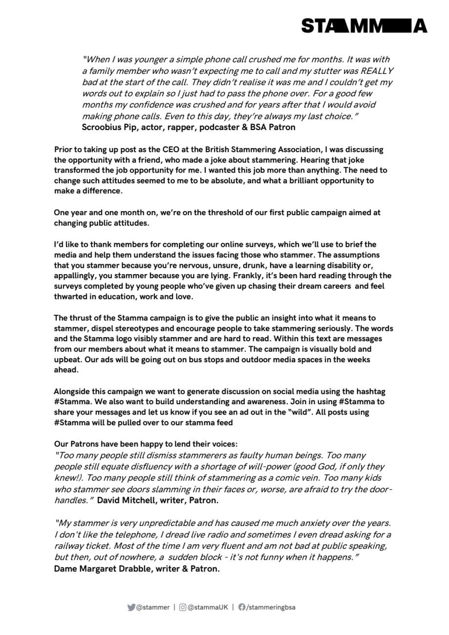 Stamma by Jane Powell - British Stammering Association