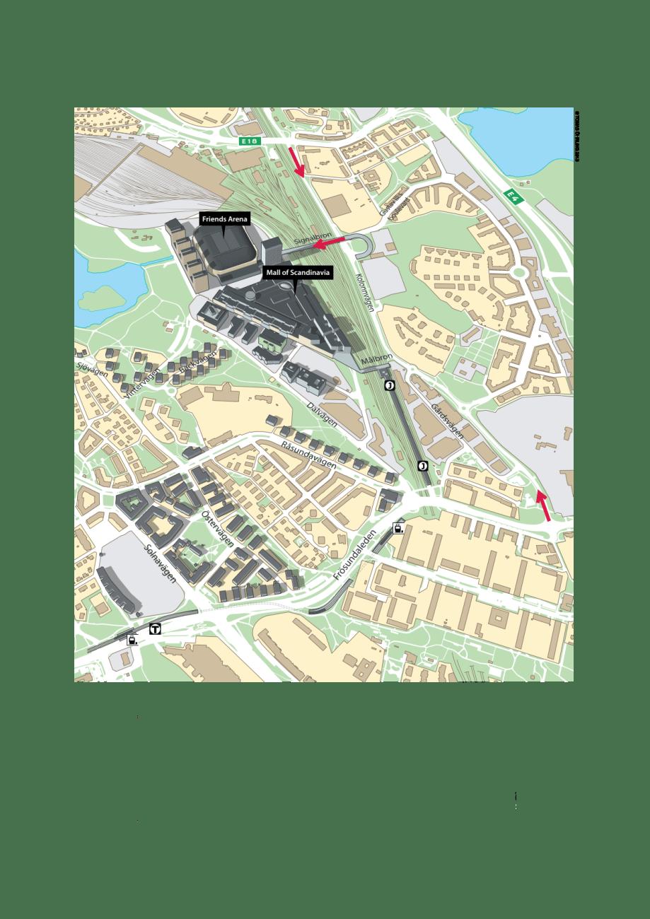 Karta Fardvagar Till Arenastaden Solna Stad