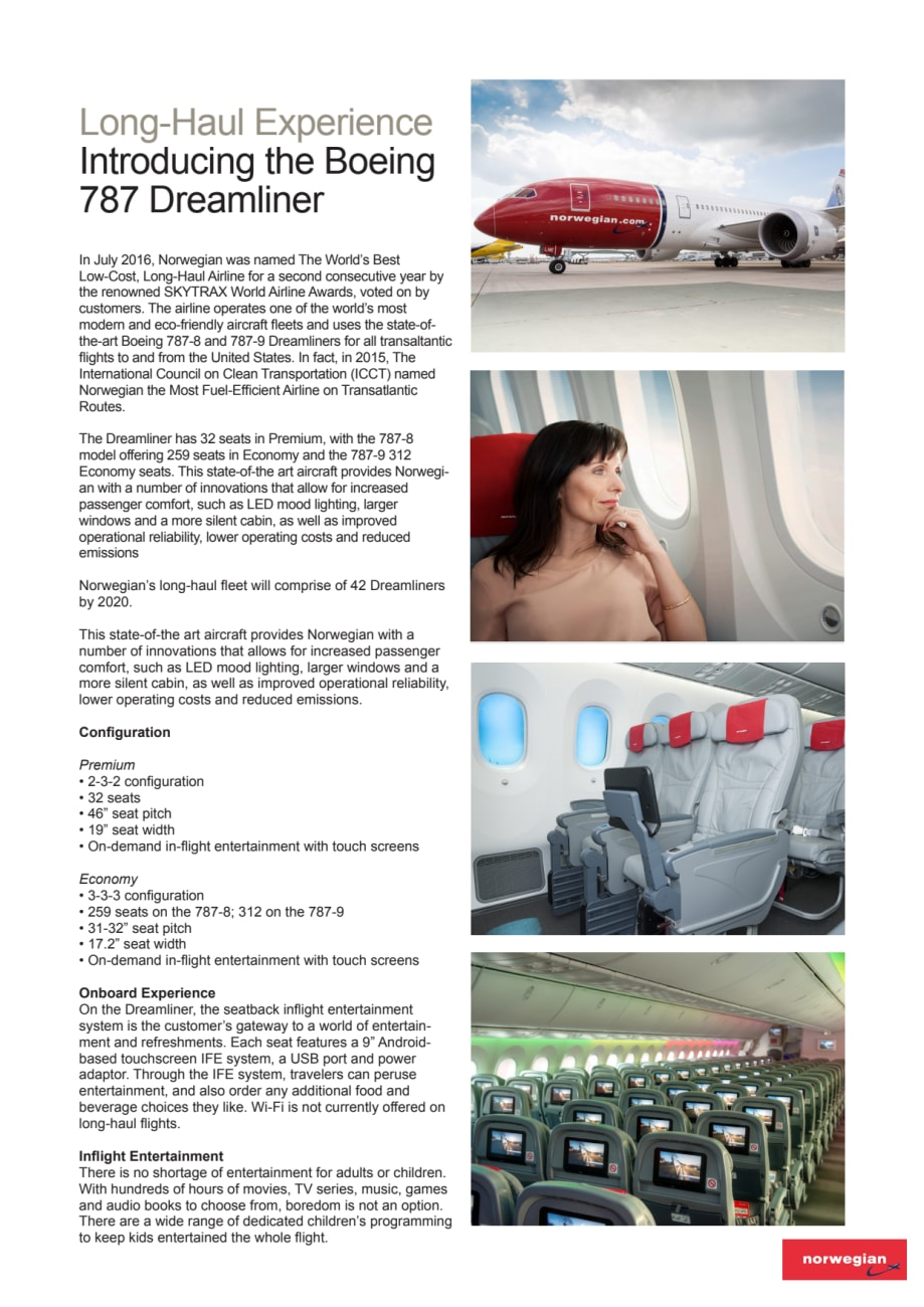 Norwegian's Long Haul Experience: Introducing the Boeing 787