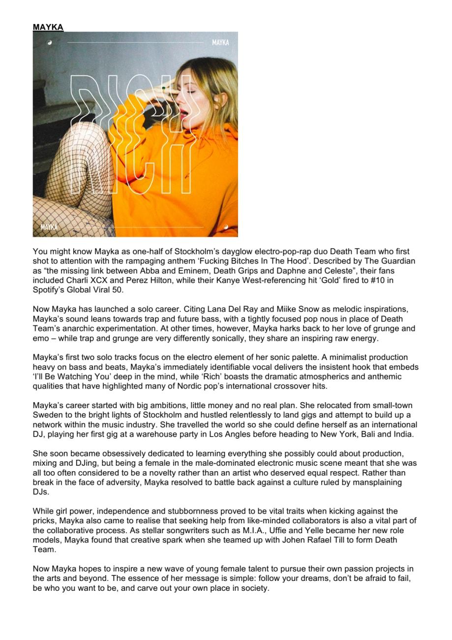 Mayka biografi - Warner Music Sweden