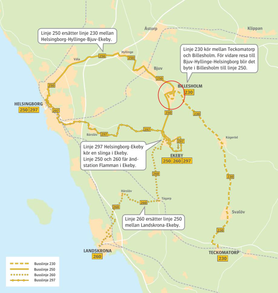 Karta Over Linjeforandringar I Svalovs Kommun Tidtabellsskifte