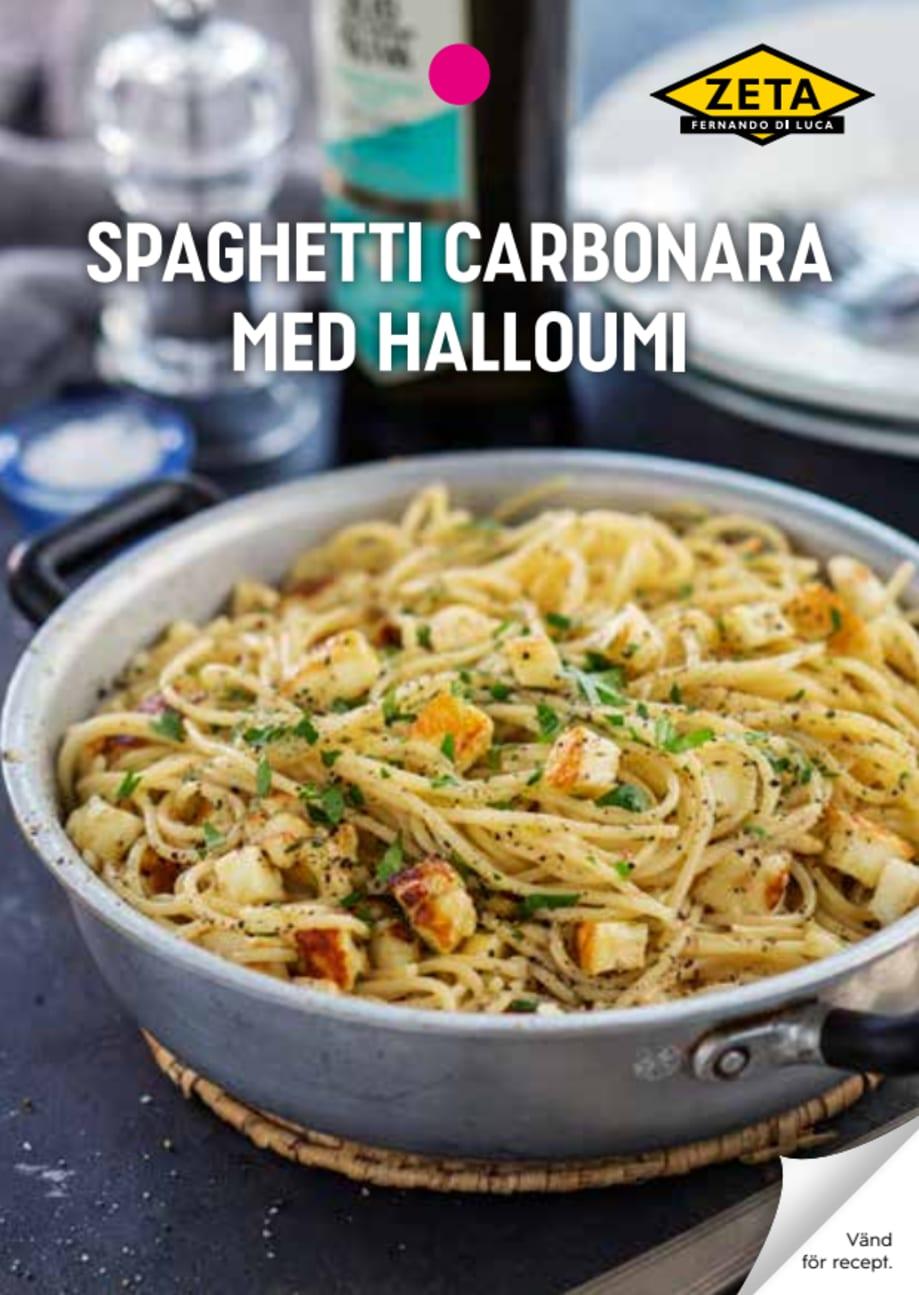 vegetarisk carbonara halloumi