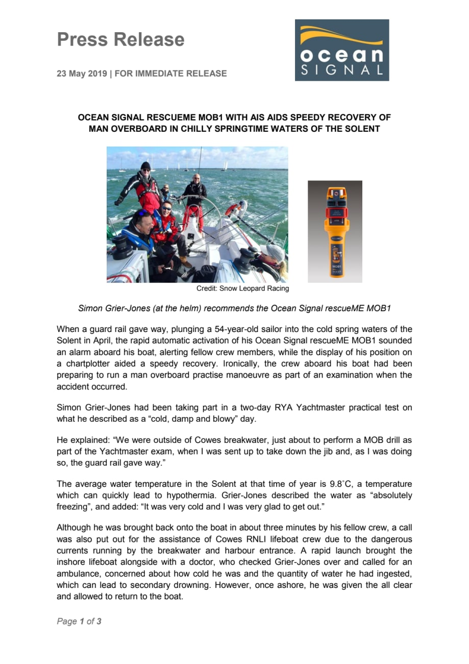 Ocean Signal rescueME MOB1 with AIS Aids Speedy Recovery of