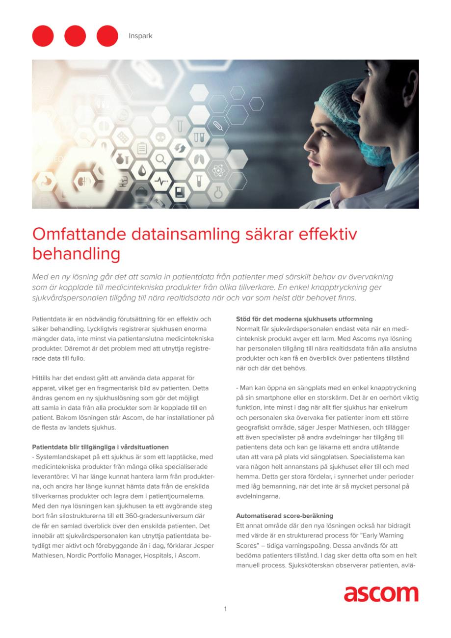5956d48cddc Omfattande datainsamling säkrar effektiv behandling - Ascom Sweden AB