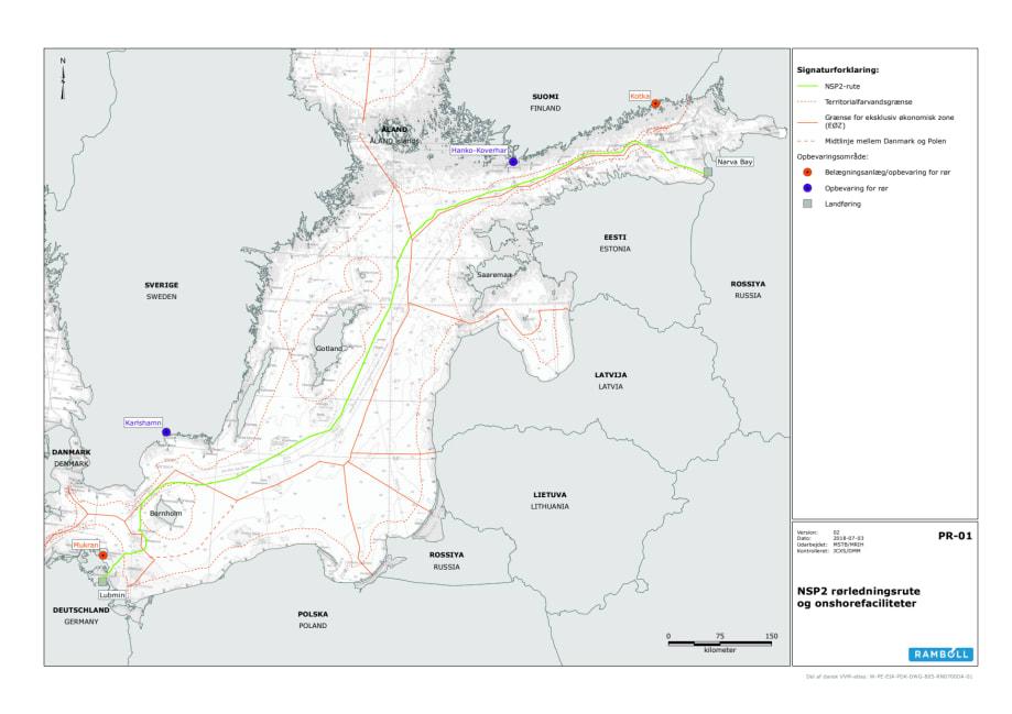 Nord Stream 2 Kort Alternativ Rute Total Energistyrelsen