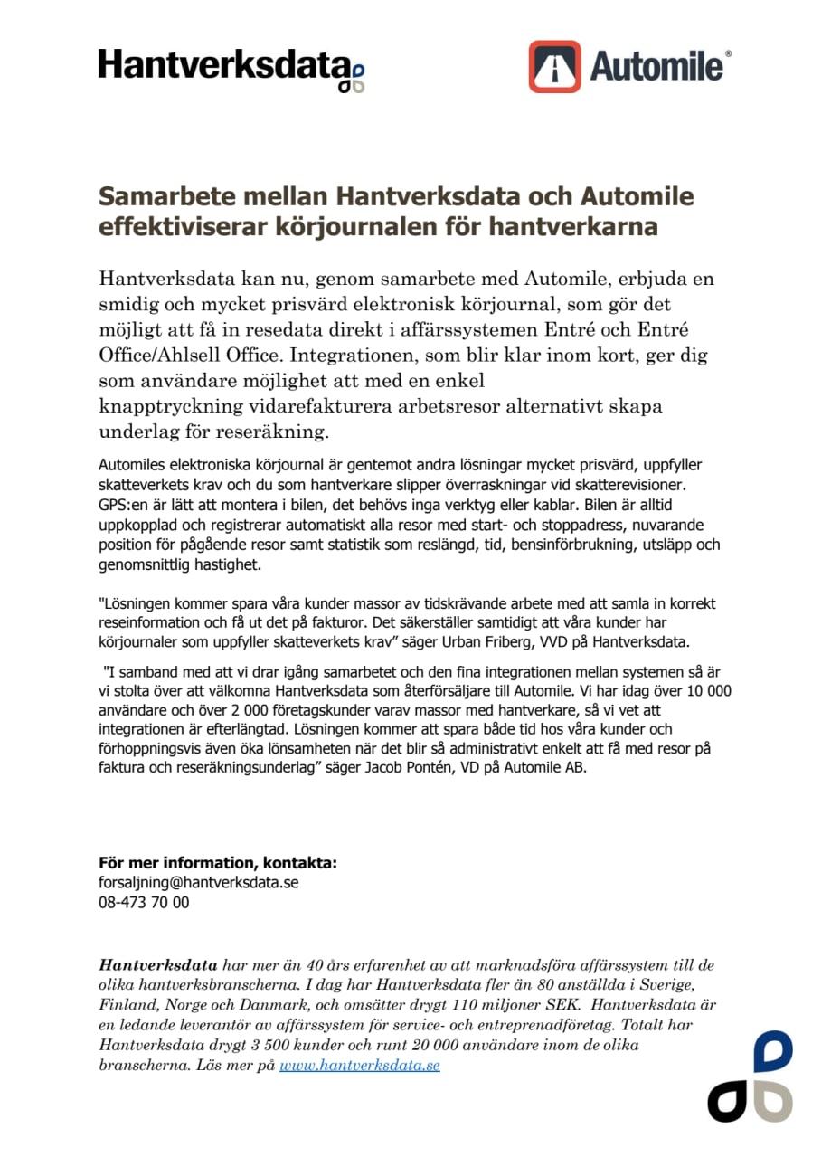 Pr Samarbete Med Automile Hantverksdata