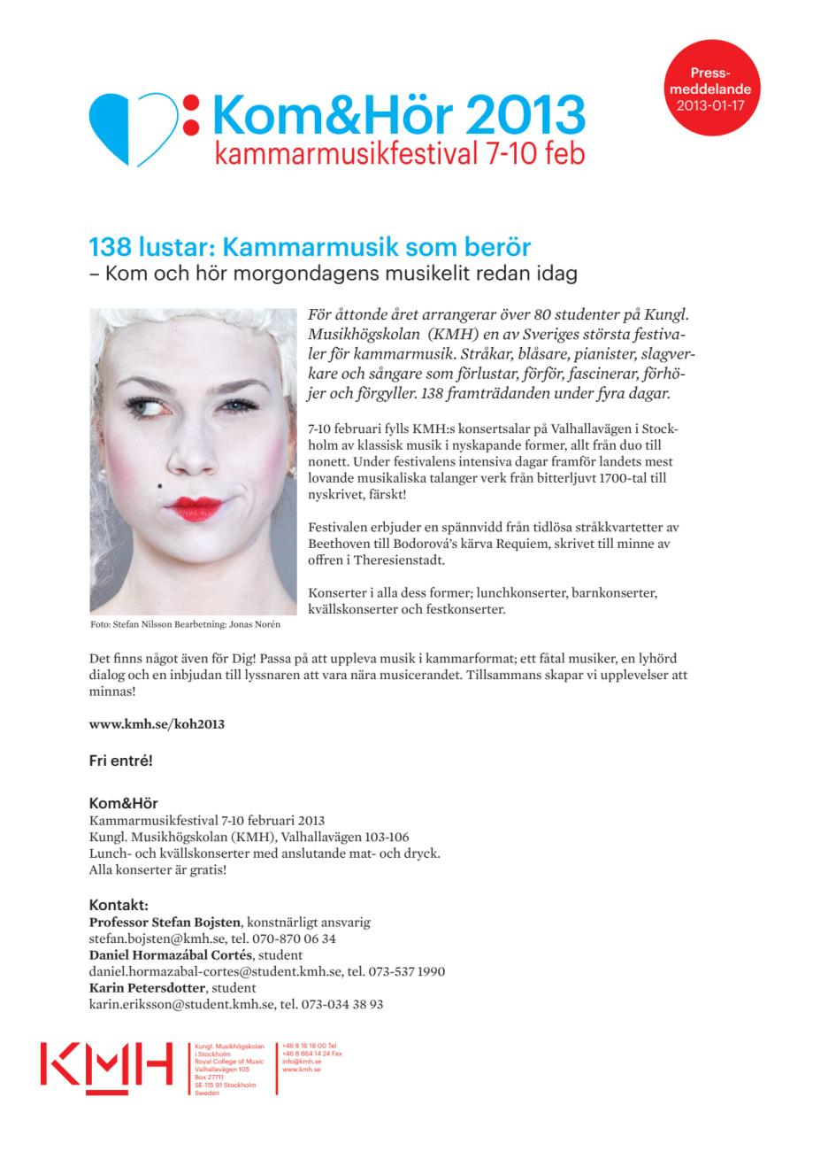 Program Kom Hör 2013 - Kungl. Musikhögskolan (KMH) 88e1fe3c29a84
