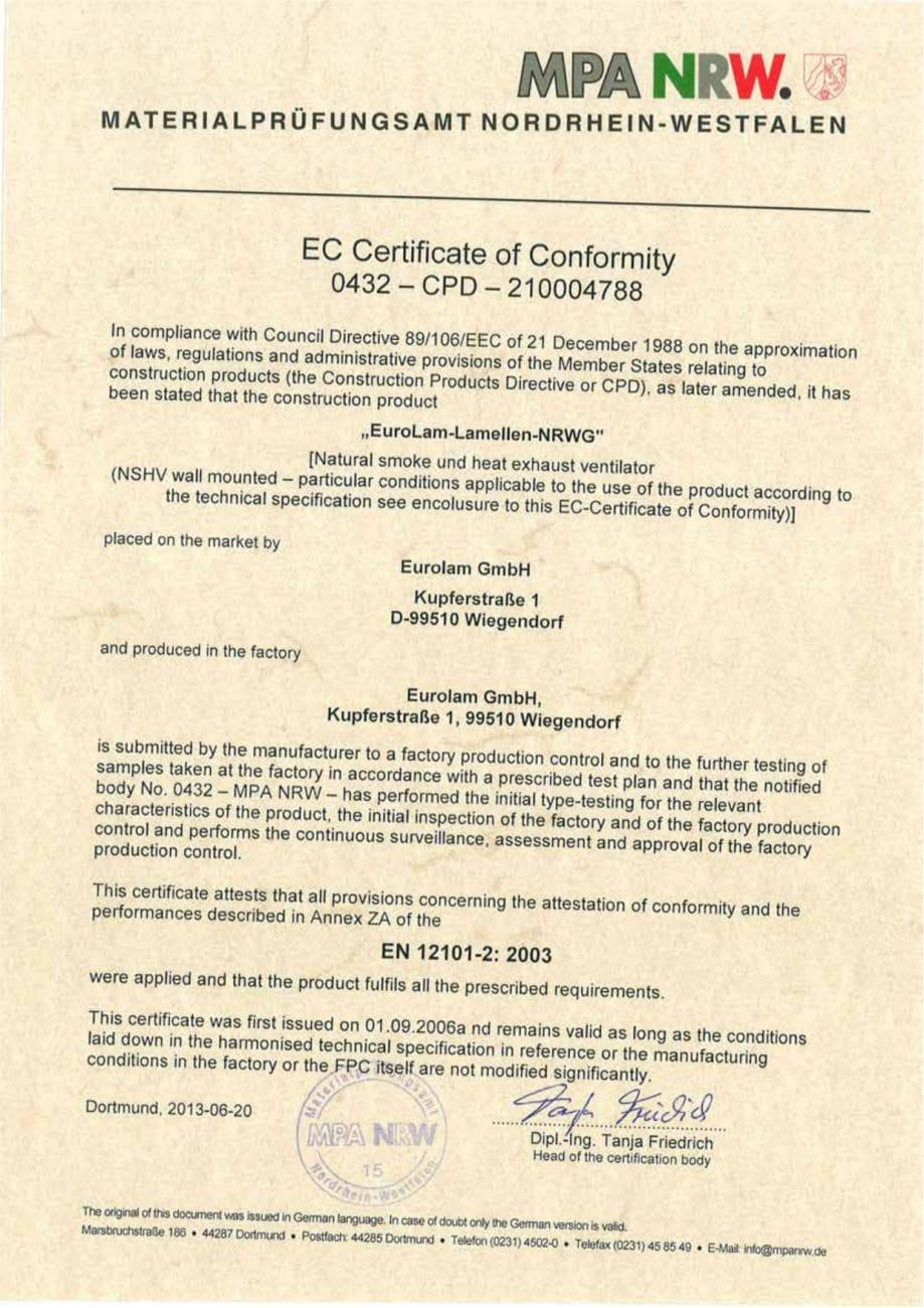 EG-Konformitaetszertifikat 0432-CPD-210004788_en - EuroLam GmbH
