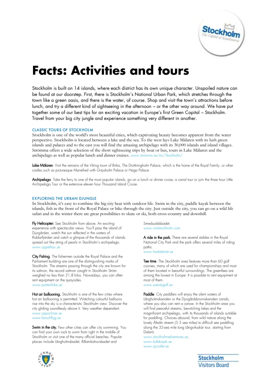 Facts: About activities and tours in Stockholm - Visit Stockholm
