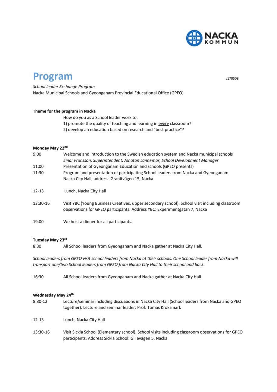 Besöksprogram 22 25 Maj Nackas Kommunala Skolor