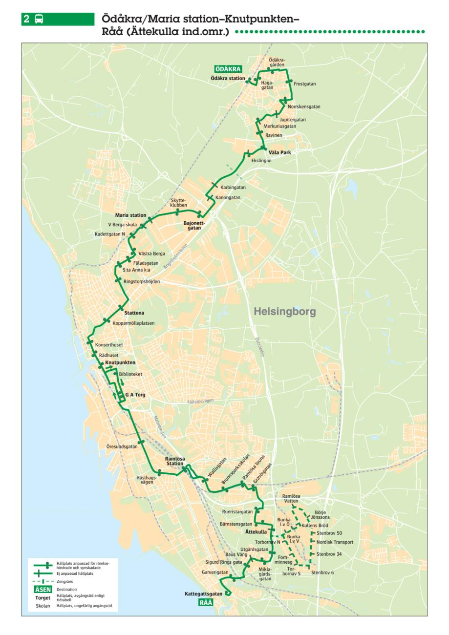 Stadsbuss Linje 2 I Helsingborg Karta Och Tidtabell 13 Augusti