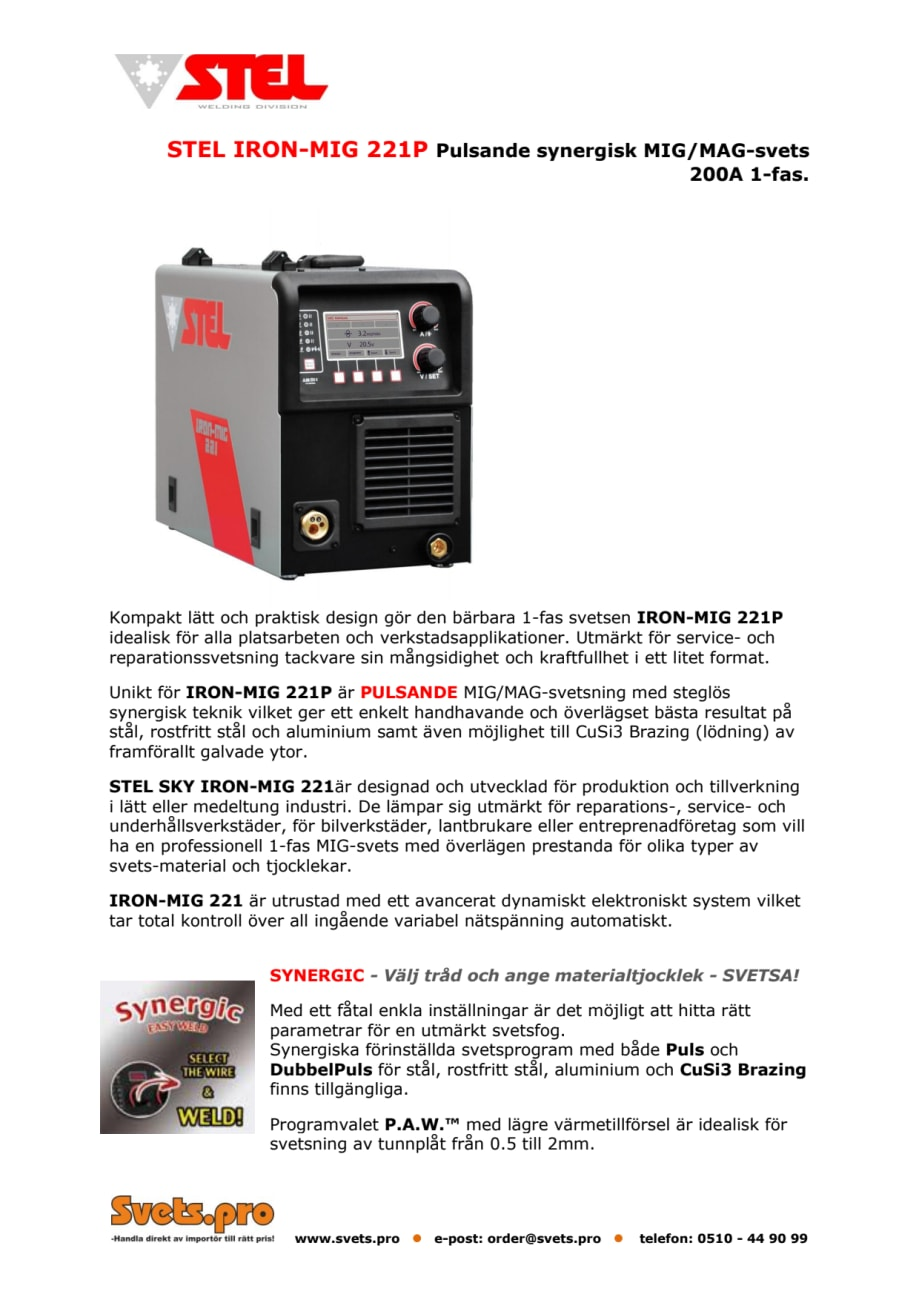 Stel Iron-Mig 221P – produktblad