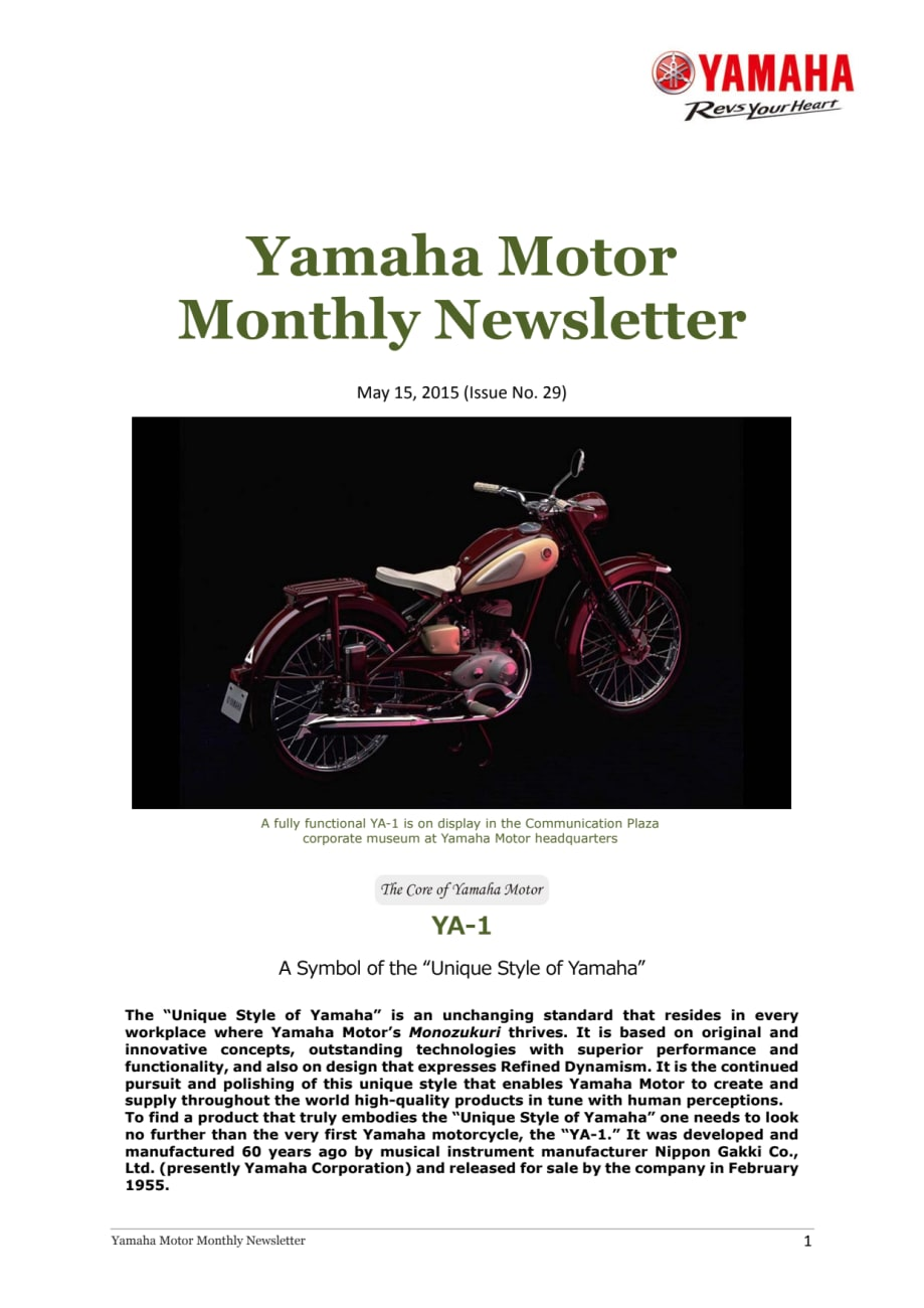 Yamaha Motor Monthly Newsletter No29 May 2015 A Symbol Of
