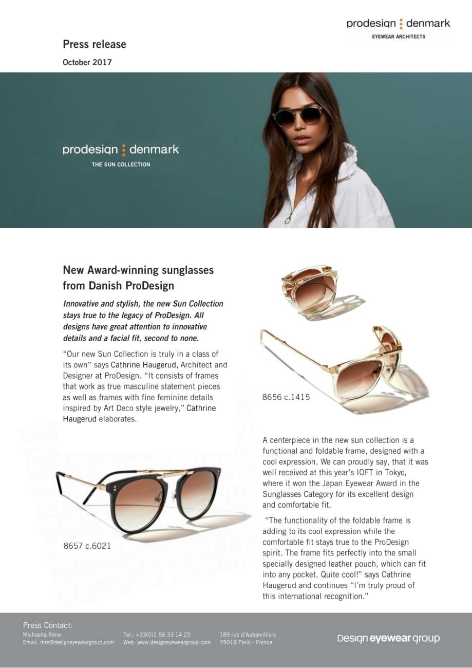 63ae3ecf36b New Award-winning sunglasses from Danish ProDesign - Design Eyewear ...