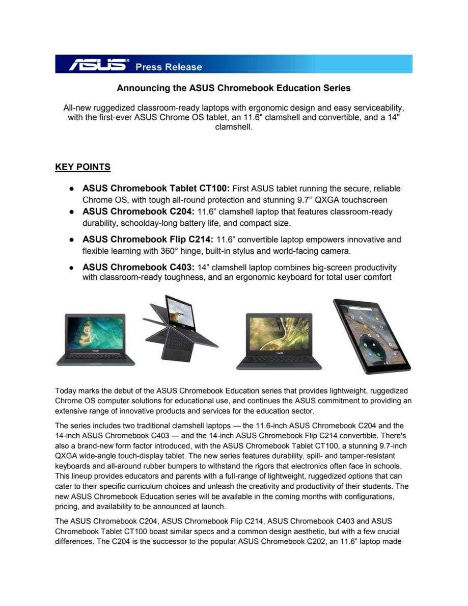 Announcing the ASUS Chromebook Education Series - ASUS Nordic