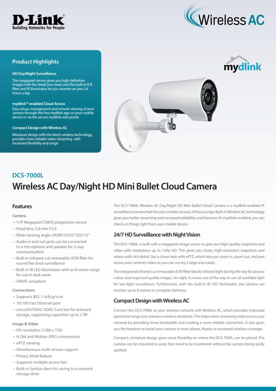 Produktblad - D-Link Wireless AC Day/Night HD Mini Bullet Cloud