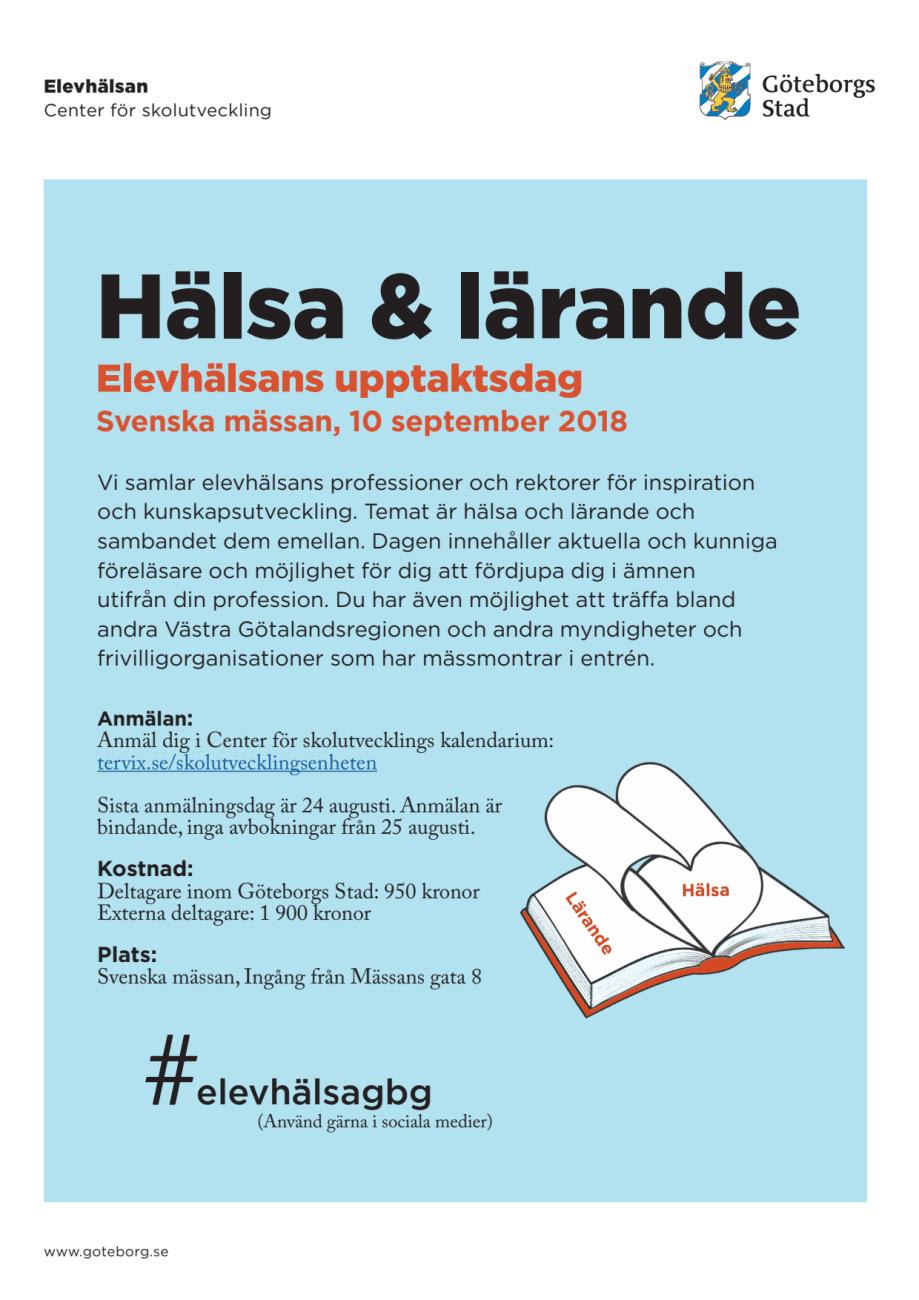 Inbjudan och program elevhälsans upptaktsdag 2018 - Göteborgs Stad 23a9c88c7675e