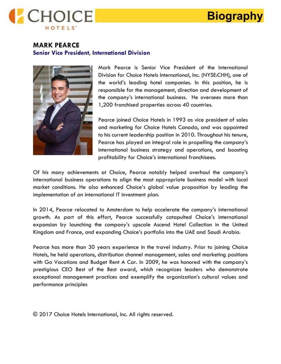 Biography, Mark Pearce, Senior Vice President International