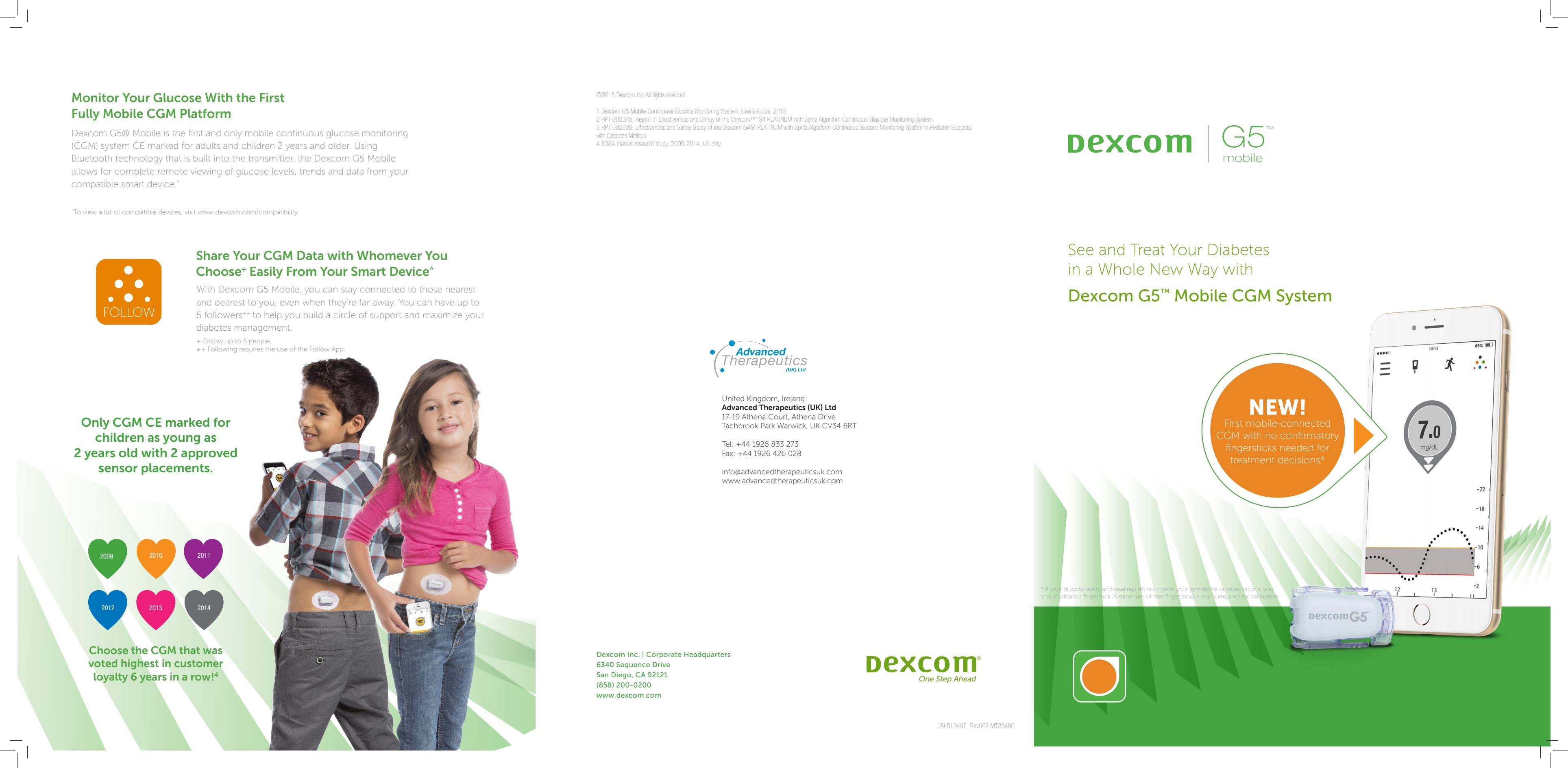 Dexcom G5 174 Mobile Cgm Product Brochure Dexcom Europe