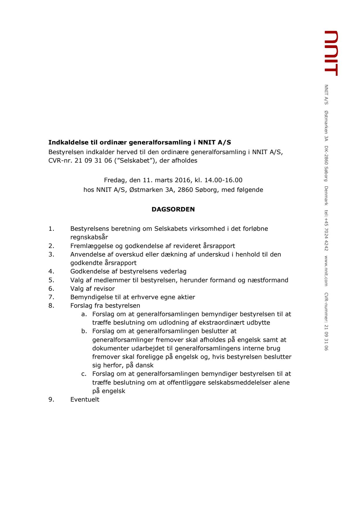 Indkaldelse til NNIT Generalforsamling 2016 - NNIT